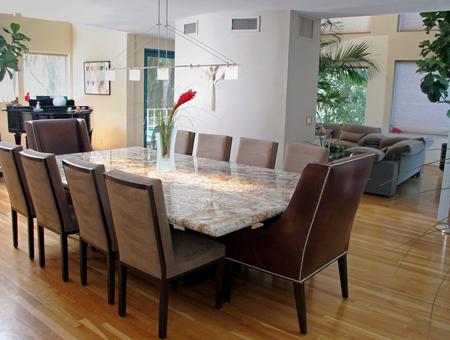 modern dining room with marble dining table